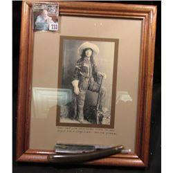 8 1/2  x 11  Glass Frame with Portrait Card of  Pearl Hart with Winchester rifle. She once helped ro