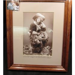 8 1/2  x 11  Glass Frame with Portrait Card of  Tillie Baldwin was an accomplished rodeo star, one o
