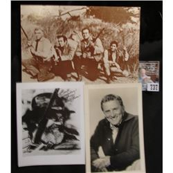 """The Cartwrights on the Ponderosa"" Post card; black & white autographed photo of ""Kirk Douglas""; & a"