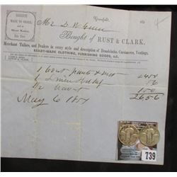 "1850 era invoice from Greenfield ""Bought of Rust & Clark Merchant Tailors, and Dealers in every styl"