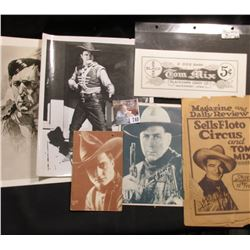 """8"""" x 10"""" Black & white Print of a drawing by William S. Hart; portrait card of """"William S. Hart""""; &"""