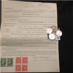 Nov. 22, 1923 State Of Minnesota $12,000 Promissory Note with attached Documentary Stamps; 1926 P, 2