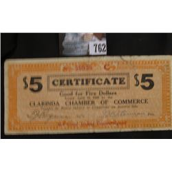 Depression Scrip April 10, 1933 Rare Red Numeral Clarinda (Iowa)  Chamber of Commerce $5 Certificate