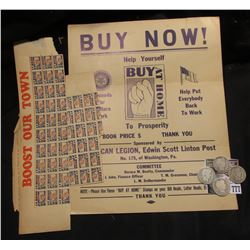 "Prosperity Buy At Home poster; several ""Buy at Home"" Stamps; 1896 P G/AG, 1900 P G/AG, 1898 P Good,"