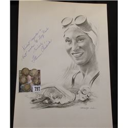 "Autographed print of a black & White drawing of ""Florence Chadwick"" by George Loh; (5) Different Dat"