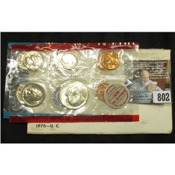 1970 U.S. Mint Set in original envelope as issued. Complete with rare Silver Half-Dollar.