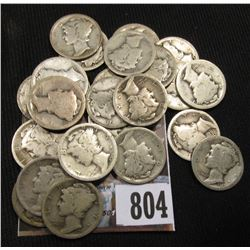 (26) Mercury Dimes all dating between 1916-1919. Circulated.