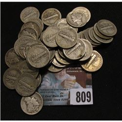(50) Various date Mercury Dimes, circulated.