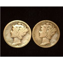 Pair of 1931 D Mercury Dimes, AG & VG.