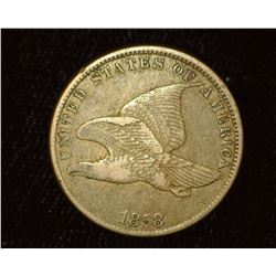 1858 Small Letters U.S. Flying Eagle Cent, VF+ with Planchet flaw mint error in central reverse.