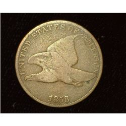 1858 Large Letter U.S. Flying Eagle Cent, Good.
