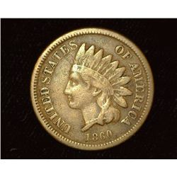 1860 Copper-nickel Indian Head Cent, VG.