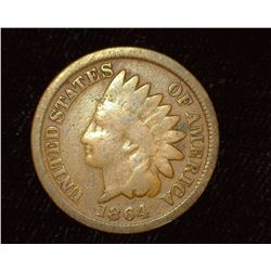 1864 Bronze Indian Head Cent, Good.
