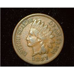 1887 Indian head Cent, VF.