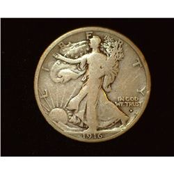 1916 Obverse D Walking Liberty Half-Dollar, G-VG.