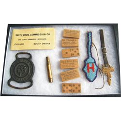 collectibles display - 1909 commission company book, Lawrence watch fob