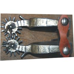 silver inlaid Calif style spurs