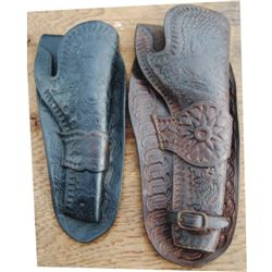 "2 holsters - 7 1/2"" unmarked Hibbard, Barlette, Spencer, San Fran vaquero tooled single loop"