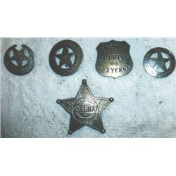 5 old west sheriff's badges
