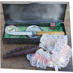 embossed ladies box with ivory handle knife