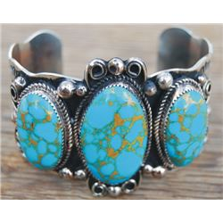 Jackie Cleveland Navajo silver and turquoise bracelet