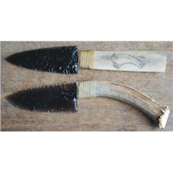2 stag handle obsidian knives, newer