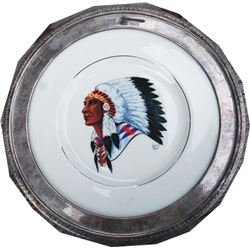 Nice silver rim tomahawk pattern collector plate
