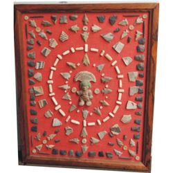 frame of Indian points, tools, pottery pieces etc.