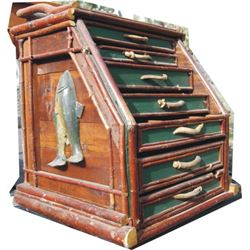 Nancy Estelin antler and stick Adirondack fisherman's cabinet