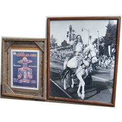 Rose parade photo and barn wood framed Mexican movie lobby card
