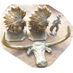 brass longhorn, Indian bookends and cowboy