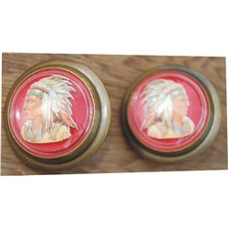 Indian head glass rosettes