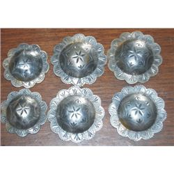 "6 silver conchos, 1 3/4"" and 1 1/2"", no loop on backs"