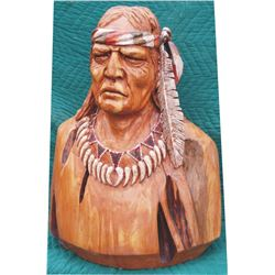 great wooden carved Indian bust