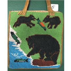 beaded pictorial bag, bear and cubs fishing