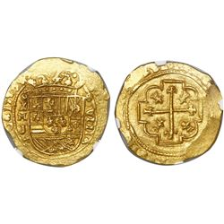 Mexico City, Mexico, cob 8 escudos, 1713J, encapsulated NGC MS 64, from the 1715 Fleet (as stated in