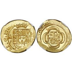 Mexico City, Mexico, cob 4 escudos, 1714J, encapsulated NGC MS 65, from the 1715 Fleet (as stated in