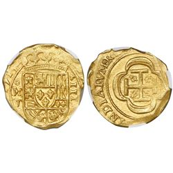 Mexico City, Mexico, cob 4 escudos, 1715J, encapsulated NGC AU 58, rare, from the 1715 Fleet (as sta