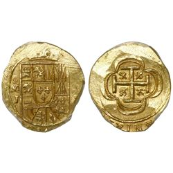Mexico City, Mexico, cob 2 escudos, 1714J, encapsulated NGC MS 63, from the 1715 Fleet (stated insid