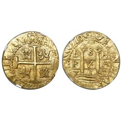 Lima, Peru, cob 8 escudos, 1710H, encapsulated NGC MS 62, from the 1715 Fleet (stated inside slab).
