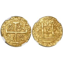 Lima, Peru, cob 4 escudos, 1710H, encapsulated NGC MS 62, from the 1715 Fleet (stated inside slab),