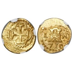 Lima, Peru, cob 1 escudo, 1710H, encapsulated NGC MS 63, from the 1715 Fleet (stated inside slab).