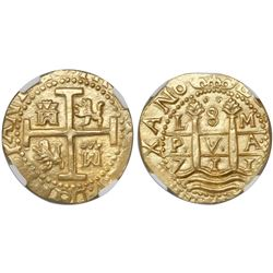 Lima, Peru, cob 8 escudos, 1711M, encapsulated NGC MS 63, from the 1715 Fleet (stated inside slab).