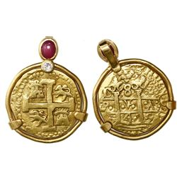 Lima, Peru, cob 8 escudos, 1749R, mounted cross side out in 22K pendant-bezel with diamond and caboc
