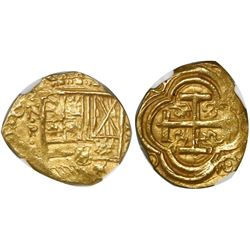 Bogota, Colombia, cob 2 escudos, Philip IV, assayer not visible (A) below mintmark NR to left, encap