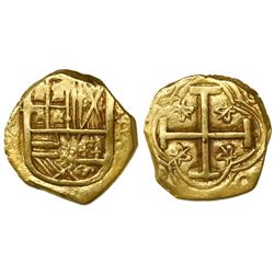 Bogota, Colombia, cob 2 escudos, Philip IV, assayer R to right (ca. 1650).