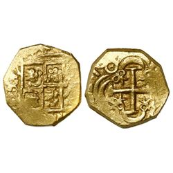 Bogota, Colombia, cob 2 escudos, (1)70(?), posthumous Charles II, no assayer (Arce), from the 1715 F