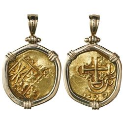 Bogota, Colombia, cob 2 escudos, posthumous Charles II, no assayer (Arce), from the 1715 Fleet, moun