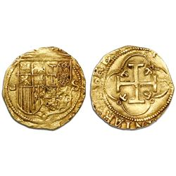 Seville, Spain, 1 escudo, Charles-Joanna, assayer Gothic D (rotated) to right, mintmark S to left.