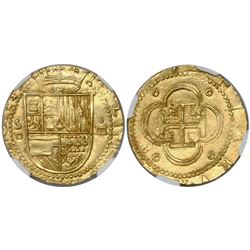 Seville, Spain, cob 4 escudos, Philip II, assayer Gothic D below mintmark S to left, encapsulated NG
